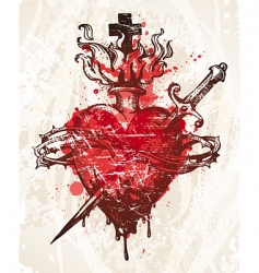 grunge hand drawn heart vector image