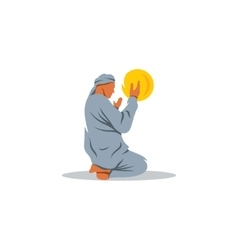 Islamic Prayer on his knees turned to God vector image