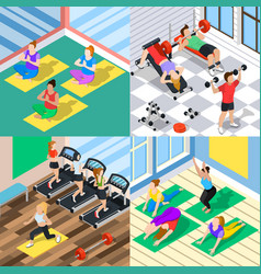 isometric workout 2x2 concept vector image