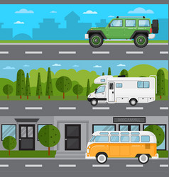 off road car camper van and retro bus on highway vector image vector image
