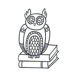 Postcard with adorable sleepy owl books and plan vector