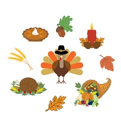 Thankgiving day set vector image