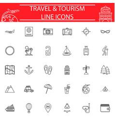 travel line icon set travel symbols collection vector image