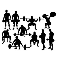 weightlifting action silhouettes vector image vector image
