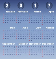 2017 calendar on blue gradient background vector