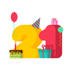 21 year birthday sign 21th template greeting card vector image