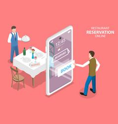 3d isometric flat concept of restaurant vector