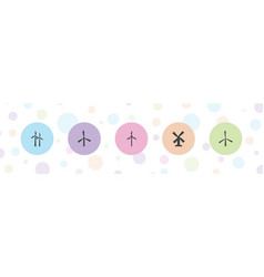 5 windmill icons vector