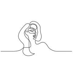 abstract portrait of young woman continuous line vector image