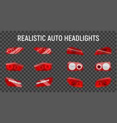 Back headlights transparent set vector