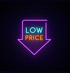 black friday neon signboard light arrow with low vector image