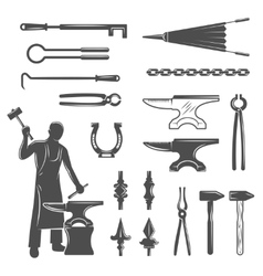 Blacksmith Black White Icons Set vector image