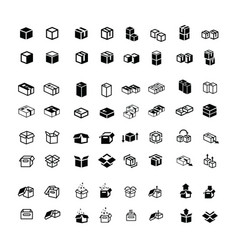 Box icons set 64 item vector