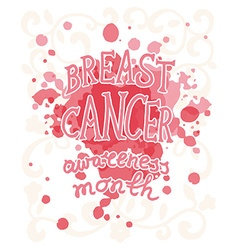 Breast cancer concept hand drawn typography poster vector