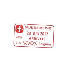 Brussels airport arrival visa passport control vector
