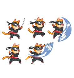 Cat Ninja Attacking Sprite vector image