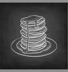 Chalk sketch pancakes vector
