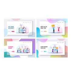 characters sending messages landing page template vector image