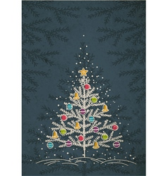 christmas trees on color dark crumple background vector image