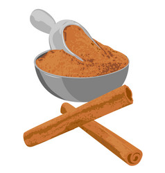cinnamon sticks and powder in a bowl spice vector image