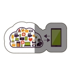 color sticker with cloud service with apps set and vector image