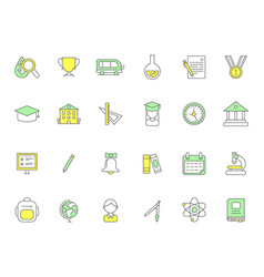 colored school icons symbols science vector image