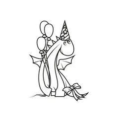 coloring book cute cartoon dragon wearing party vector image