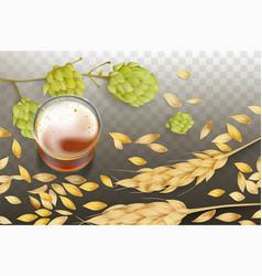 Craft beer in glass beaker realistic vector