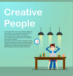 Creative people freelancer happy working man vector