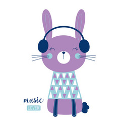 Cute bunny in headphones vector