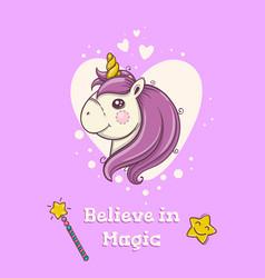 Cute postcard with magical head of unicorn on vector