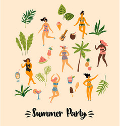 dancing ladyes in swimsuits vector image