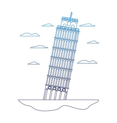 Degraded line leaning tower of pisa architecture vector