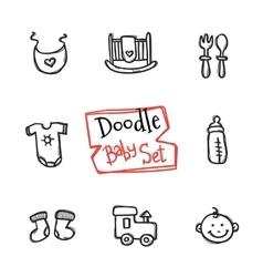 Doodle baicons set cute hand drawn vector