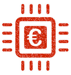 Euro processor icon grunge watermark vector