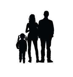 Family silhouette with one girl vector
