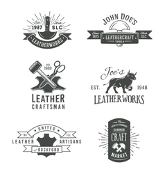 First set grey vintage craft logo vector