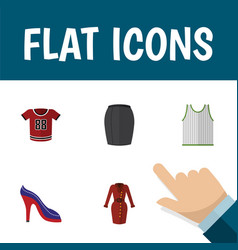 Flat icon dress set of clothes singlet stylish vector