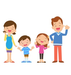 Four member family posing vector