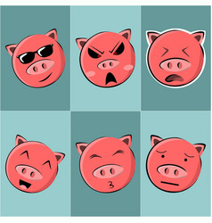 funny various pink pig face vector image