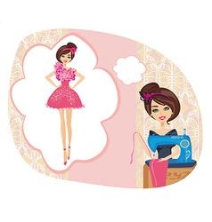 girl with sewing machine dreams of a beautiful vector image