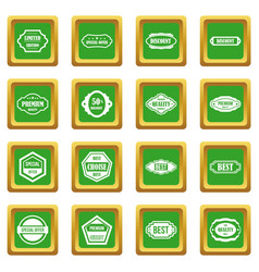 Golden labels icons set green vector