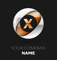 golden letter x logo symbol in the circle shape vector image