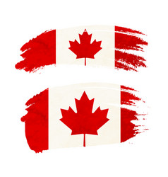 Grunge brush stroke with canada national flag on vector