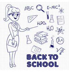 hand drawn female teacher and school vector image