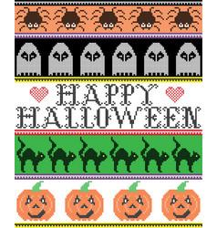 Happy halloween pattern ghost pumpkin cat vector