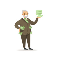Happy rich successful senior businessman character vector
