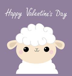 Happy valentines day sheep lamb face head icon vector