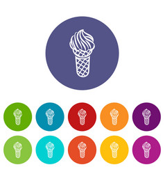 ice cream in waffle cone icon outline style vector image