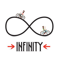 Infinity symbol with arrows and people vector